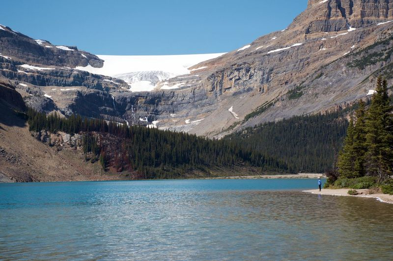 Amazing View Banff National Park  Bow Lake Breathtaking View Hiking Lake At The Foot Of A Mountain Travel Blue Green Water Clouds And Sky Destination Glacial Lake Glacier Landscape Mountain Mountain Range No People