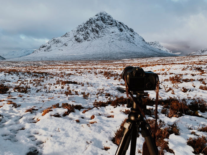 Winter snow in Glencoe, Scotland Mountain Snow Cold Temperature Winter Snowcapped Mountain Uk United Kingdom Scotland Scottish Highlands Glencoe Weather Landscape Ice Sky Cloud - Sky Camera Tripod
