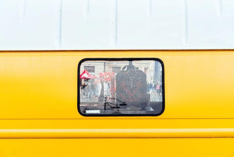 Close-up of yellow car window