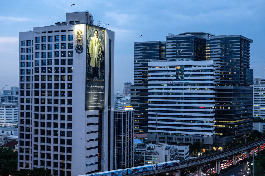 Bangkok, Thailand - April 28, 2017 : Focus two building in the evening time Bangkok City Life Downtown Nightphotography Thailand Architecture Building Exterior Built Structure City City View  Cityscape Modern Nightlife Outdoors Skyscraper Street Urban