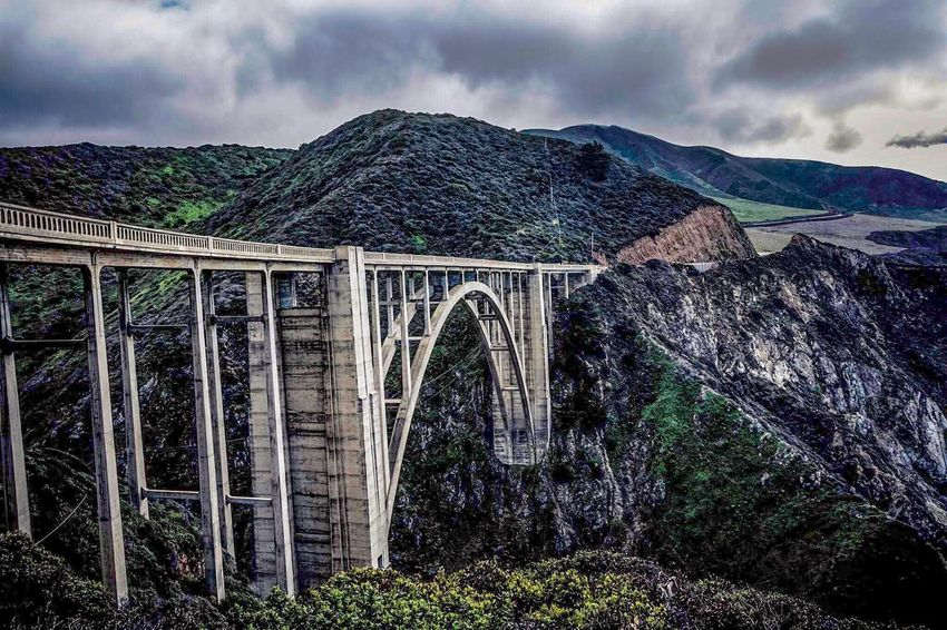 Bixby Bridge Built Structure Mountain Architecture Cloud - Sky Sky Bridge - Man Made Structure Outdoors Nature Day Travel Destinations No People Beauty In Nature Connection Scenics Arch Tree California Bixbybridge California Sunset Bixby Bridge Big Sur CALIFORNIA
