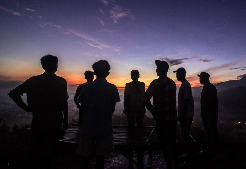 silhouette Group Of People Sky Silhouette Sunset Men Real People Standing Nature Cloud - Sky Group Lifestyles Leisure Activity Togetherness Water Outdoors People Medium Group Of People Land Orange Color Looking At View #sunrise#beach#sky#iphoneography#ihonesis
