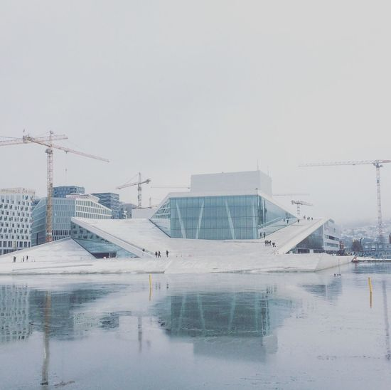 Oslo opera Architecture Built Structure Winter Building Exterior Cold Temperature Snow Weather City Water Modern Cityscape Outdoors