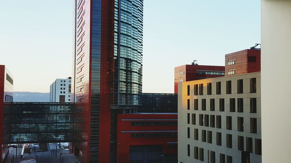 Architecture City Skyscraper Clear Sky Building Exterior Built Structure No People Business Finance And Industry Red Outdoors Sky Day Modern Office Building Exterior Downtown District Cityscape Luxembourg From My Point Of View Perspectives Red Window View University View Luxembourg Streetphotography Architecture