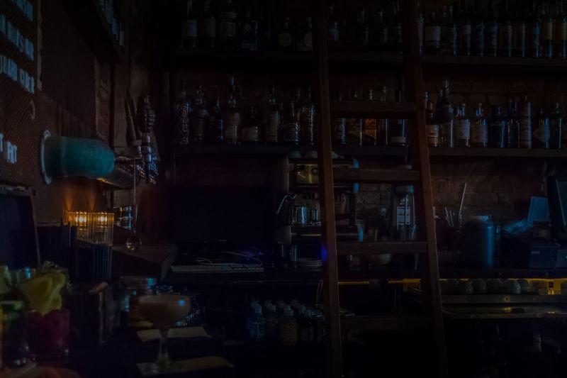 Restaurant Bar at Night/Dusk Deep Ellum Restaurant Urban Bar Night Nighttime Photography Night Life Ladder Dusk Liquor Shelves