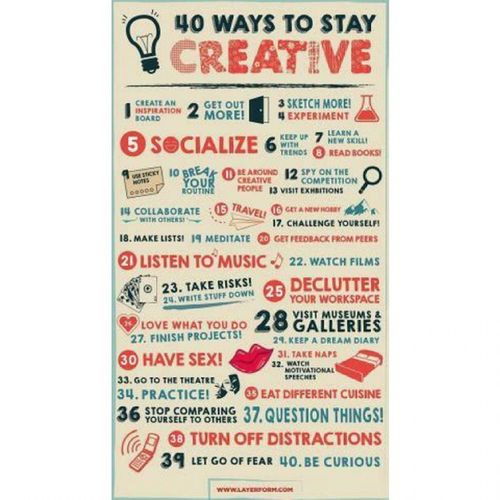 So.. Have a look!! 40 ways to stay Creative!! Hope it helps.. :) :P Picsummary Mondayblues