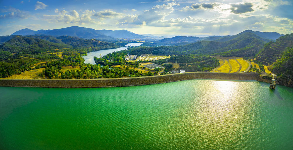 Aerial scenic panorama of Lake Eildon Dam at sunset. Melbourne, Victoria, Australia Australia Australian Australian Landscape Drone  Nature Scenic View Aerial Aerial View Architecture Beauty In Nature Building Exterior Cloud - Sky Dam Day Drone Photography Eildon Green Color Lake Lake Eildon Landscape Mountain Mountain Range Nature Nautical Vessel No People Outdoors Park River Scenics Sky Tranquil Scene Tranquility Tree Water Waterfront