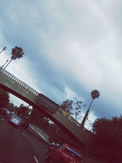 En route. Driving California Summer Cloudy Palm Trees