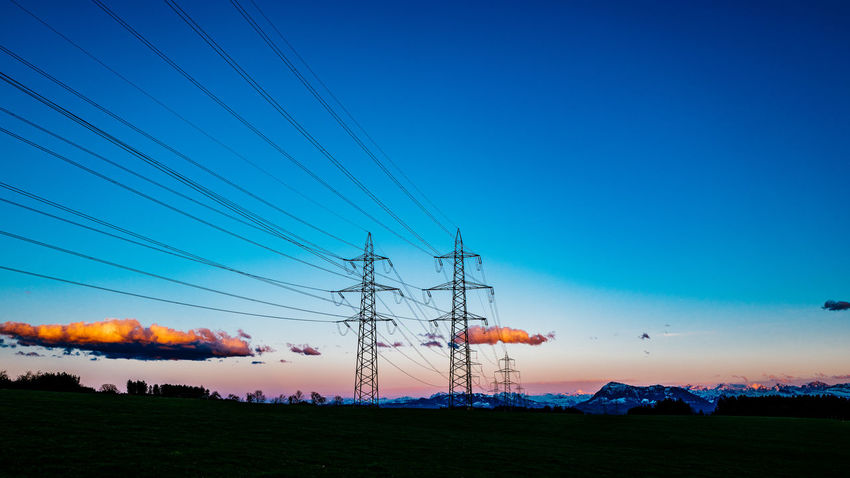 Beauty In Nature Blue Clear Sky Copy Space Dusk Electricity  Electricity Pylon Gormund Idyllic Kapelle Landscape Nature Non-urban Scene Outdoors Power Line  Power Supply Scenics Sky Sunset Tranquil Scene Tranquility Water