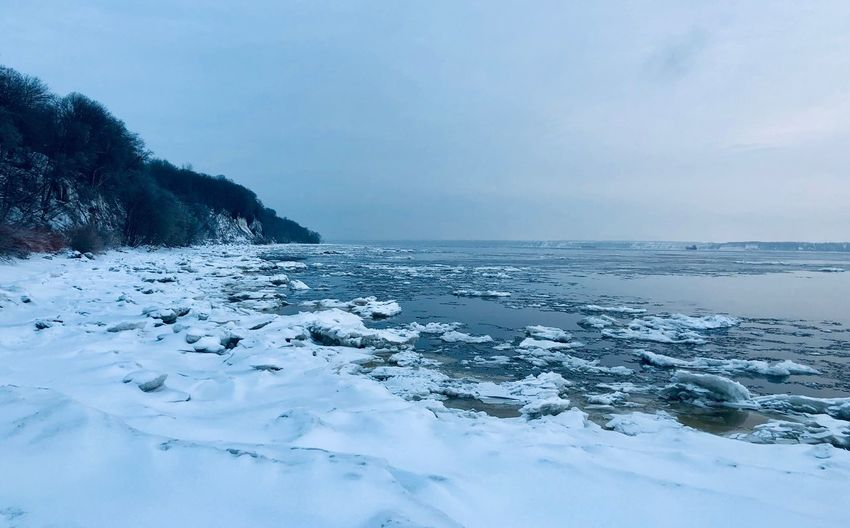 Ice Covering Sky Cold Temperature Scenics - Nature Winter Water Tranquility Beauty In Nature Nature No People Day Non-urban Scene Snow Horizon Over Water Tranquil Scene Outdoors Sea Idyllic Horizon Land