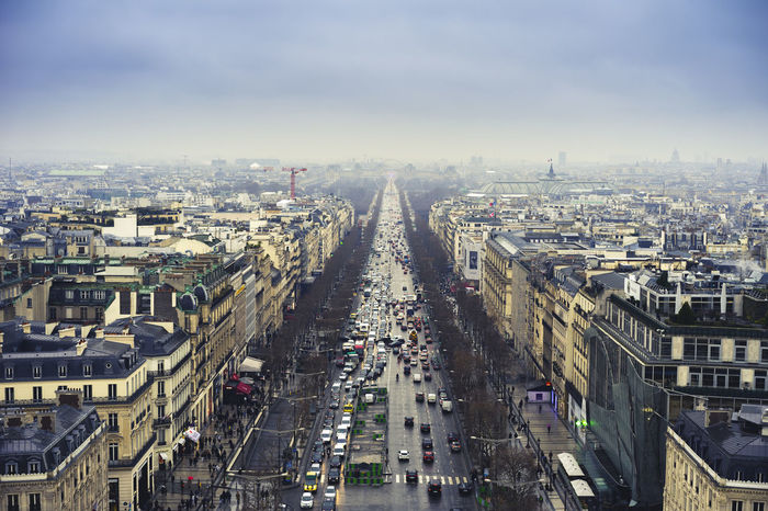 Paris, avenue des Champs Elysées Champs-Élysées  France Paris Polluted Sky Architecture City City Life Cityscape High Angle View Pollution Street Travel Destinations