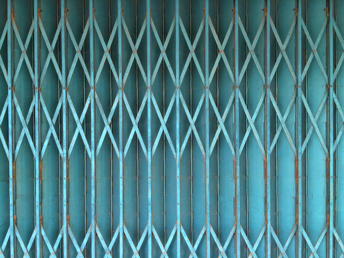 Blue Closed Colors And Patterns Gate Geometric Shape Pattern Repetition Rusty Wrought Iron X