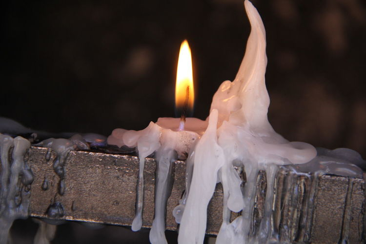 Close-up of burning candles in temple