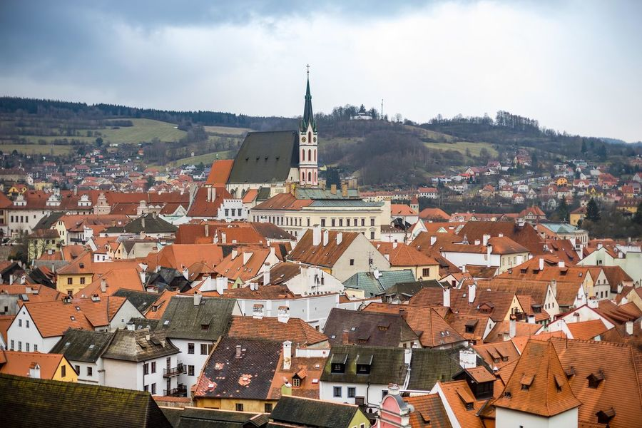 The old town view from cesky Krumlov castle in cloudy day Architecture Building Exterior Built Structure City Cityscape Cloud Cloud - Sky Community Day Elevated View House Human Settlement Mountain No People Outdoors Residential Building Residential District Residential Structure Roof Roof Tile Rooftop Sky Town TOWNSCAPE Travel Destinations