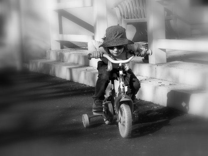 Bnw_bike Bnw_friday_eyeemchallenge Transportation One Person Girl Selective Focus