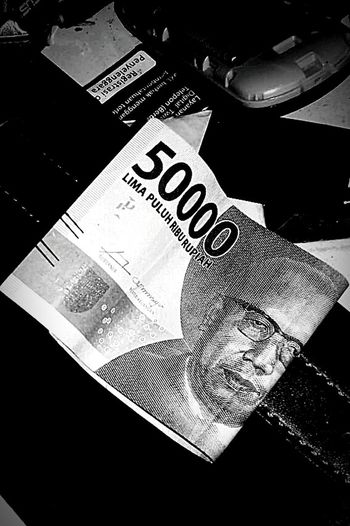 Rupiah INDONESIA Duit Blackandwhite Black B&w Hitam&putih Monay Hana Geld Qiangmai Okaneganai Don Paper Currency Currency Finance Wealth Counting Text High Angle View Close-up