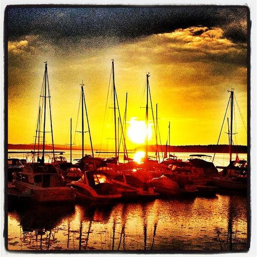 Sleepy Boats with #btv #sunset Sunsetporn Instagood Summer Webstagram Sunset EyeCandy  IPhoneography Vt Harbor Btv Landscape Lakechamplain Boats Vt_scenery Pier Vermont_scenery Sleepy 802 Iphoneonly Vt_scene Stunning Vermont_scene Marina Breakwaters Burlington Igvermont Waterfront Masts Golden