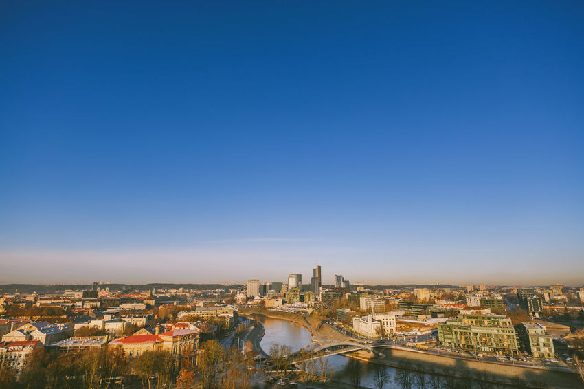 Morning panorama of Vilnius Nikon Z7 Z7 Europe Lithuania Lietuva Morning Panorama City Winter Building Exterior Architecture Built Structure Sky Cityscape Building Clear Sky Copy Space Blue Nature Residential District High Angle View Water No People Travel Destinations River City Life Outdoors