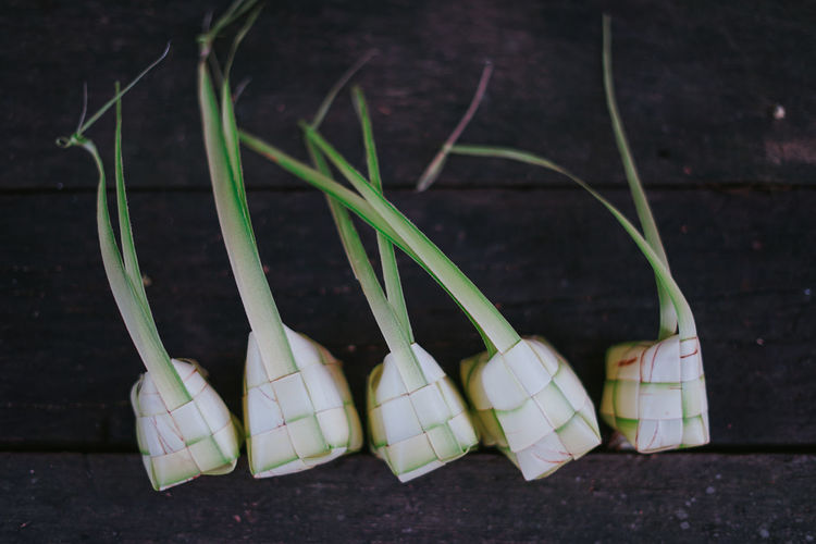 Ketupat or rice dumpling is traditional food in malaysia during eid celebration.