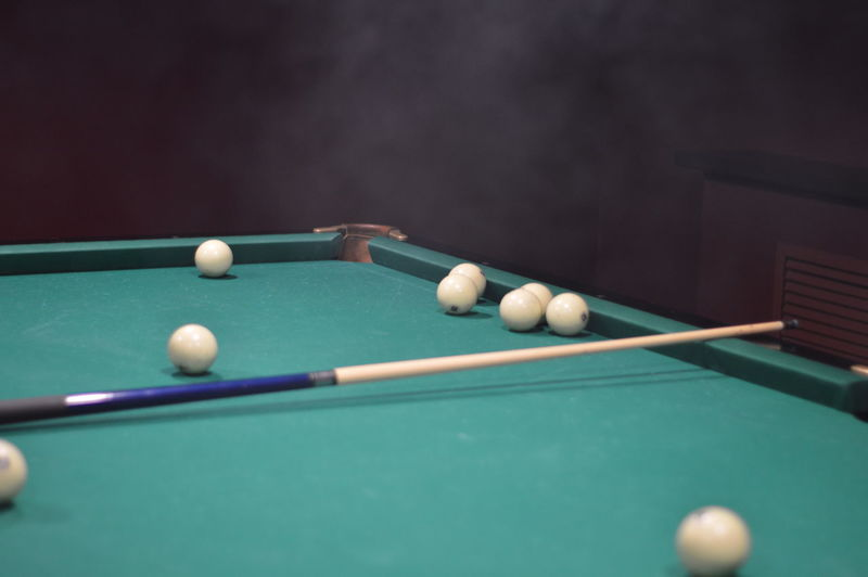 High angle view of balls billiard on table