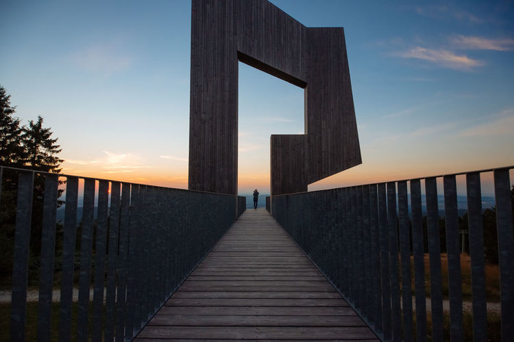 Lookout Architecture Bridge Building Exterior Built Structure Diminishing Perspective Footpath Lookout Point Lookout Tower Railing Sky Sundown The Way Forward Wood - Material