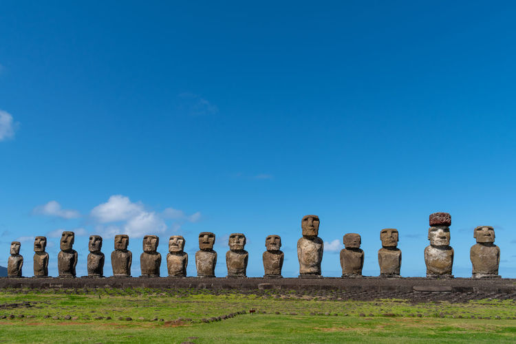 Ahu tongariki is the largest platform on easter island with fifteen restored moais or human figures