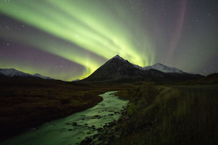Night Northern Lights Reflection River Water Mountain Range Mountain Light No People Landscape Canada Yukon Yukon Territory Alone Quiet Moments Peaceful Landscapes Mountains