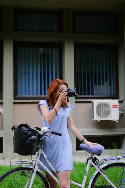 Bike Bike Ride Young Women Ginger Redhead Outfit Ootd Fashion Summer Fashion Summertime Novisad Exploring Exploring The City Taking Photos Taking Pictures Of People Taking Pictures Floral Pastels