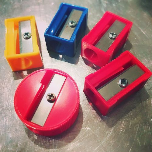 Makeup Pencil Sharpener Colourful Accessory Indoors  Red Color Blue Color Pink Color Forwomen Close-up Lifestyles
