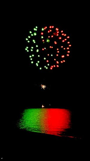 Fireworks Illuminated Night Arts Culture And Entertainment Green Color Red No People Outdoors