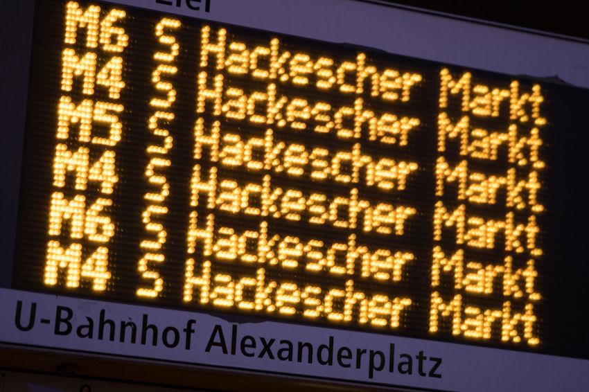 Train departure timetable at Alexanderplatz Bahnhof station in Berlin, Germany Bahnhof Timetable Train Delay Airport Communication Digital Display Illuminated No People Technology Text