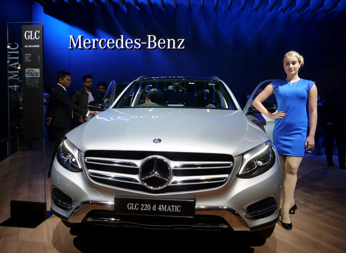 Blue Color Mercedes-Benz Auto Show Front View Full Length Girl In Blue Dress Looking At Camera Model Pose One Person Transportation