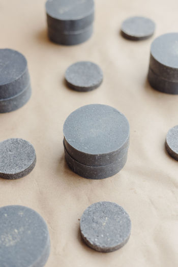 High angle view of stones on table