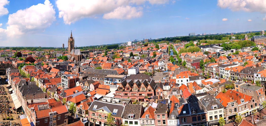 Panorama of Delft, from the Oude Kerk (Old Church) of Delft, The Netherlands Panorama Panoramic Panoramic Photography Travel Photography Travel Travel Destinations Sky Cloud - Sky White Blue Residential District Cityscape City Residential Building Building Exterior Built Structure Building Roof Wide Wide Angle Wide Shot TOWNSCAPE Outdoors Tourism Tourist Attraction  Architecture Place Of Worship Religion Church Day