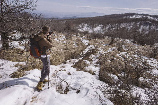 Hiking on the mountain Rtanj, Serbia Adventure Beauty In Nature Cold Temperature Day Full Length Hiking Landscape Leisure Activity Nature One Person Outdoors Photographer Snow Warm Clothing Winter Woman