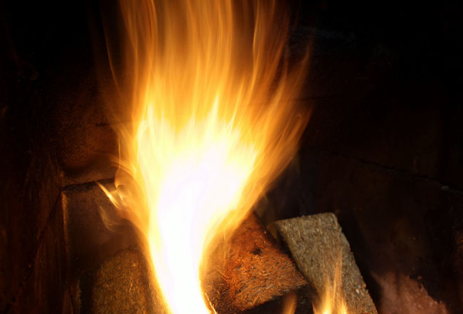 Flame Heat - Temperature Burning Wood - Material Night Close-up Motion No People Outdoors