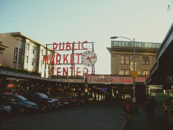 Marketplace Buildings Street Cars Pike Place Market Pikes Peak PikePlaceMarket Streetview Clock Building And Sky Cityscapes City View  City Street