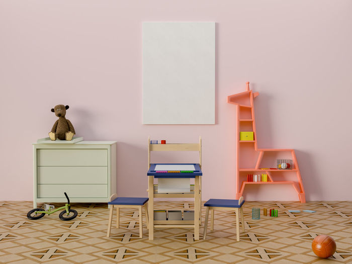 Mock up poster in kid room interior. Indoors  Table Chair Furniture Seat Wall - Building Feature No People Copy Space Still Life Desk Multi Colored Office Art And Craft Empty Absence Creativity Children Room
