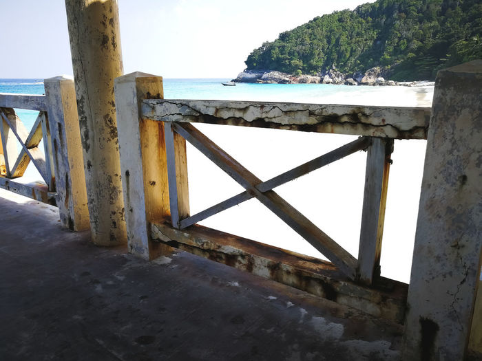 Pulau Redang, Malaysia. Wood - Material No People Day Architecture Sky Water Nature Built Structure Outdoors Sea Metal Beach Safety Railing Security Tranquility Land Protection Tranquil Scene Ocean Snorkeling Malaysia Jetty Travel Destinations Tropical Island Turquoise Water Beautiful Nature