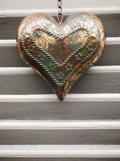 Metal heart on window Valentine's Day  Valentine Copy Space Decoration Shutters Heart Heart Shape Positive Emotion Love Close-up Wood - Material Emotion Food And Drink No People Still Life Metal Food Indoors