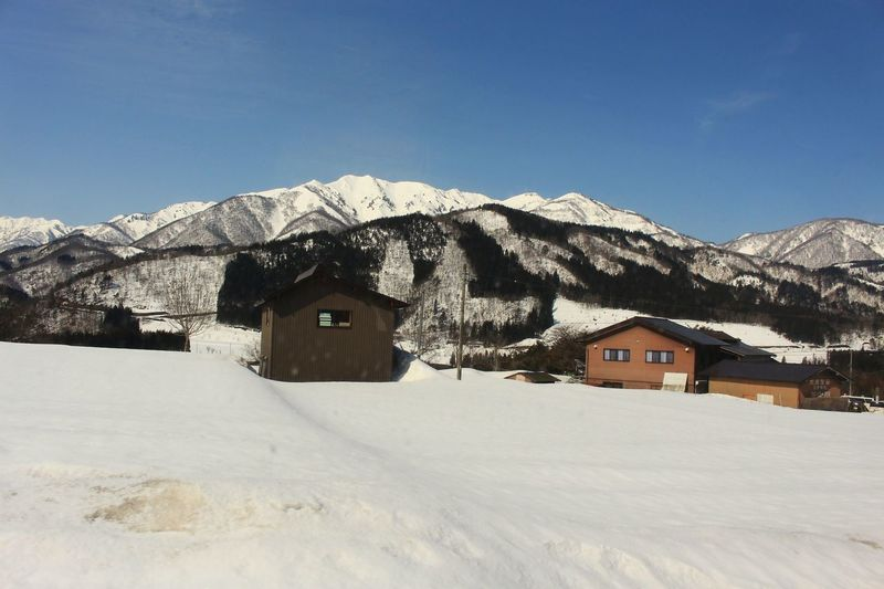 House image on the way, Japan Rural Scene Countryside Country Outdoors Mountain Range Snow Sky Shooting Photos Mountain Snow Winter Cold Temperature House Hut Sky Architecture Built Structure Building Exterior Villa Farmhouse