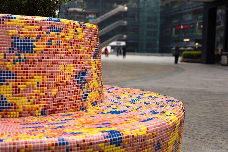 Bench China Color Bench Colorful Hangzhou Hangzhou,China Pixel Bench