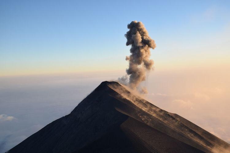 Eruption of fuego volcano visible from acatenango volcano, guatemala