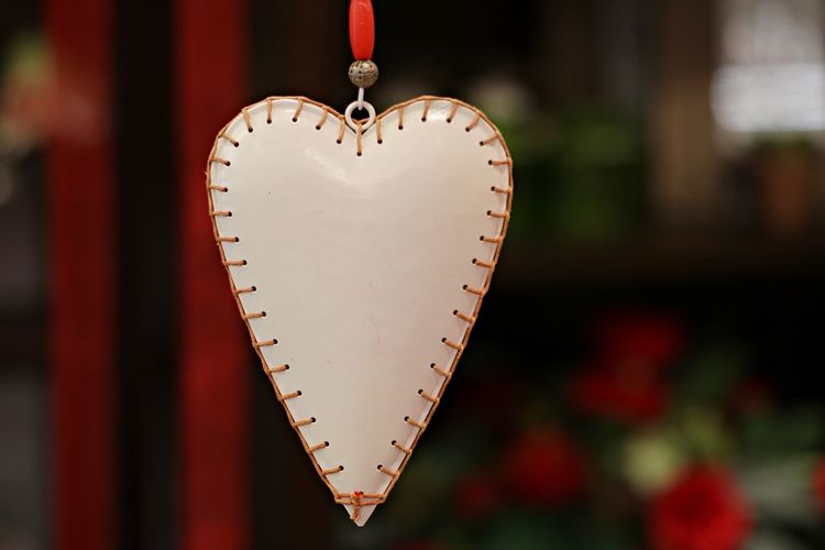 Close-up of heart shape decoration hanging