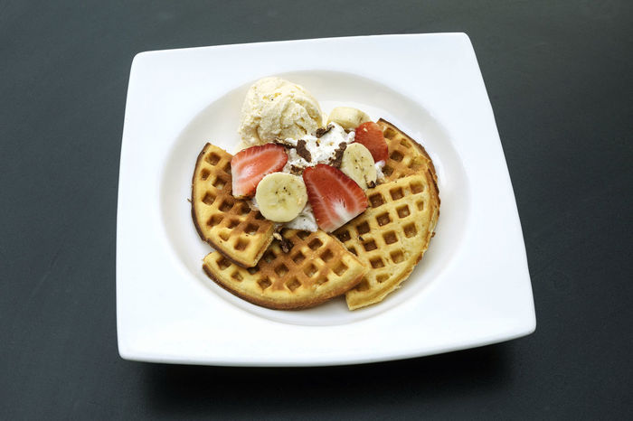 Banana Dessert Waffles Close-up Day Dessert Directly Above Food Food And Drink Freshness Healthy Eating High Angle View Ice Cream Indoors  Indulgence No People Plate Ready-to-eat Serving Size Still Life Strawberry Sweet Food Table