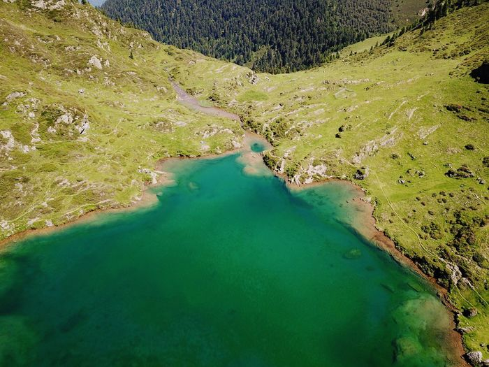 Mountain Lake Pyrenees Aerial Shot Water Scenics - Nature High Angle View Green Color Tranquility Beauty In Nature Nature No People Day Tranquil Scene Landscape Idyllic Lake Land Non-urban Scene Environment Outdoors Aerial View