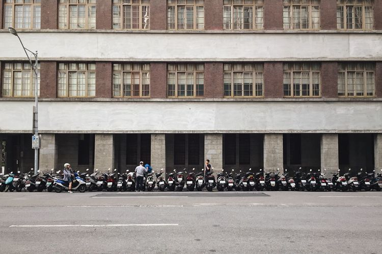 Building Exterior Architecture Day Real People Large Group Of People Built Structure Outdoors Men Togetherness City Teamwork People Scooter Motorcycle Parking Repetition Taiwan Rows Of Things