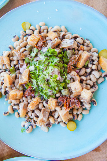 Greek salads with seafood and beans Beans Salad Seafood Fish Food Food And Drink Freshness Healthy Eating Lentils Parsley Plate Ready-to-eat Serving Size Tomato