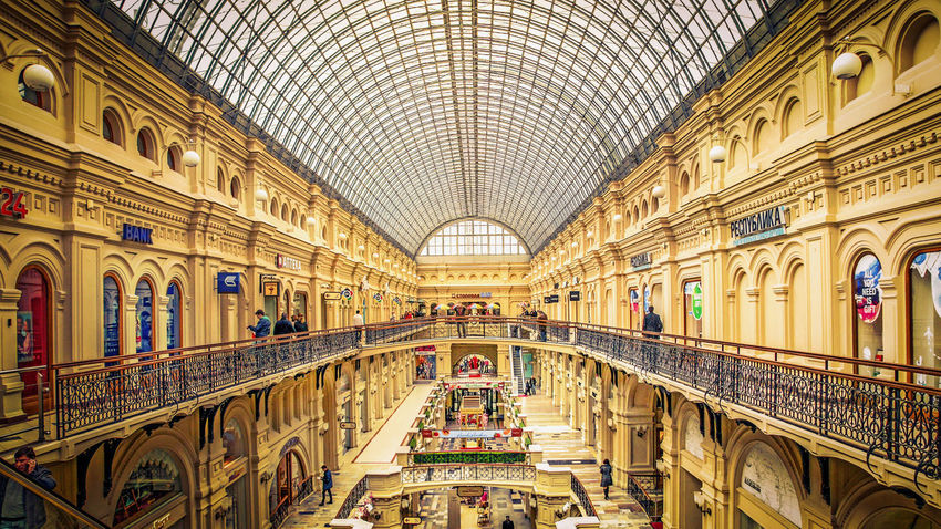 The famous Gum in Moscow 2014 Arch Architectural Feature Architecture Architecture Built Structure Capital Cities  Capital Cities  Ceiling City Life Design Famous Place Gum Historical Building History Mall Moscow Russia Shopping Shopping Mall Tourism Tourist