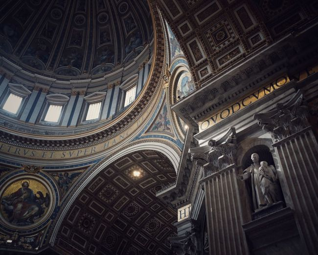 Under the dome Rome EyeEm Best Shots Lifestyles Low Angle View Built Structure Architecture Religion Place Of Worship Belief Spirituality Ceiling Travel Destinations Building Travel History The Past Tourism Architecture And Art Architectural Column Building Exterior No People Ornate Arch
